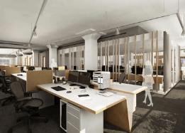 Render de interior de una oficina Lumion vray 3dmax