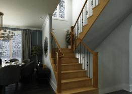 Render interior de comedor 3d con escalera